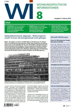 Wohnungspolitische Informationen 8/2019 gdw   Wohnungspolitische Information