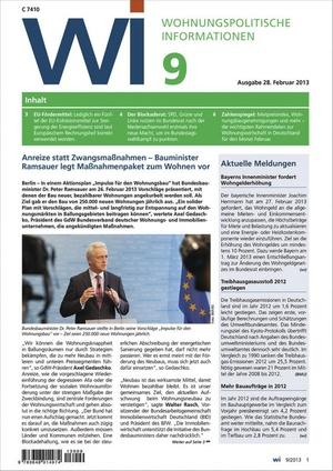 Wohnungspolitische Information Ausgabe 9/2013   Wohnungspolitische Information