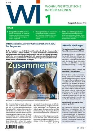 Wohnungspolitische Informationen Ausgabe 1/2012 | Wohnungspolitische Information