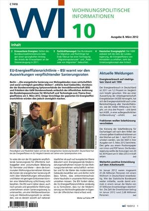 Wohnungspolitische Informationen Ausgabe 10/2012 | Wohnungspolitische Information