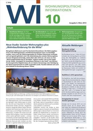 Wohnungspolitische Informationen Ausgabe 10/2013   Wohnungspolitische Information