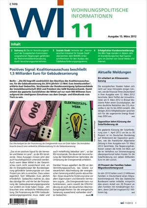 Wohnungspolitische Informationen Ausgabe 11/2012 | Wohnungspolitische Information