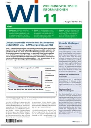 Wohnungspolitische Informationen Ausgabe 11/2013   Wohnungspolitische Information