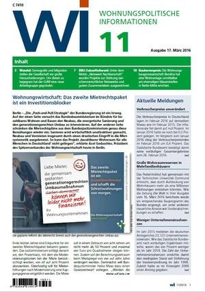 Wohnungspolitische Informationen 11/2016 GdW   Wohnungspolitische Information