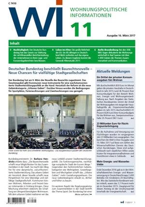 Wohnungspolitische Informationen 11/2017 gdw   Wohnungspolitische Information