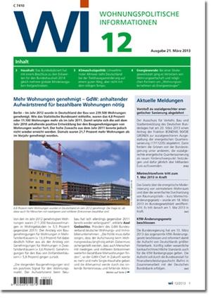 Wohnungspolitische Information Ausgabe 12/2013 | Wohnungspolitische Information