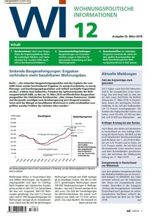 Wohnungspolitische Informationen 12/2018 gdw | Wohnungspolitische Information