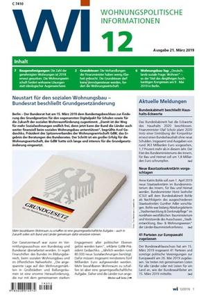 Wohnungspolitische Informationen 12/2019 gdw   Wohnungspolitische Information