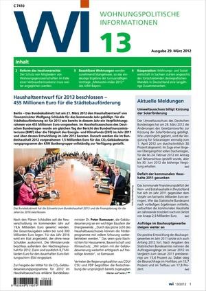 Wohnungspolitische Informationen Ausgabe 13/2012   Wohnungspolitische Information