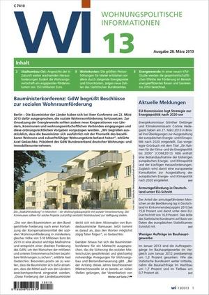 Wohnungspolitische Information Ausgabe 13/2013 | Wohnungspolitische Information