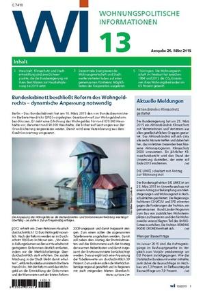 Wohnungspolitische Informationen 13/2015 | Wohnungspolitische Information