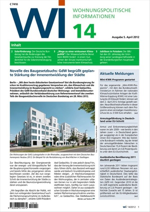 Wohnungspolitische Informationen Ausgabe 14/2012 | Wohnungspolitische Information