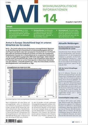 Wohnungspolitische Information Ausgabe 14/2013 | Wohnungspolitische Information