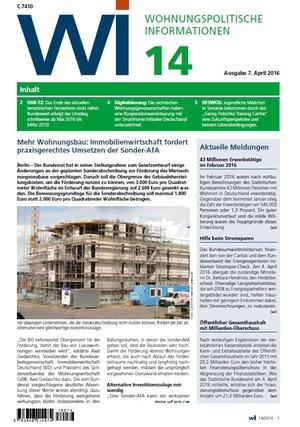 Wohnungspolitische Informationen 14/2016 GdW | Wohnungspolitische Information