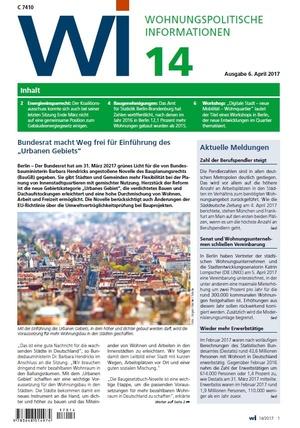 Wohnungspolitische Informationen 14/2017 gdw | Wohnungspolitische Information