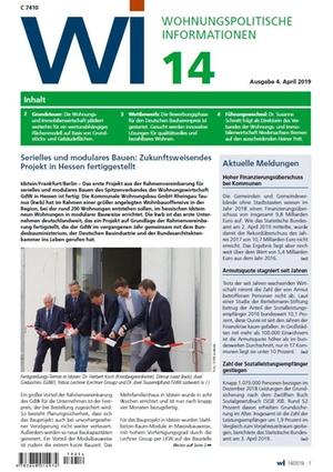 Wohnungspolitische Informationen 14/2019 gdw | Wohnungspolitische Information