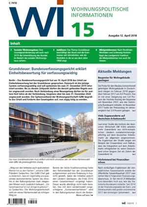 Wohnungspolitische Informationen 15/2018 gdw | Wohnungspolitische Information