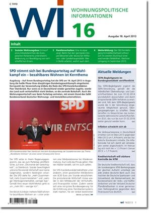 Wohnungspolitische Information Ausgabe 16/2013   Wohnungspolitische Information