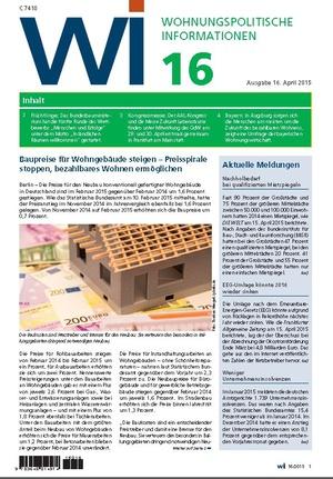 Wohnungspolitische Informationen 16/2015 | Wohnungspolitische Information