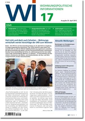 Wohnungspolitische Information Ausgabe 17/2013 | Wohnungspolitische Information