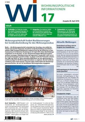 Wohnungspolitische Informationen 17/2016 GdW | Wohnungspolitische Information