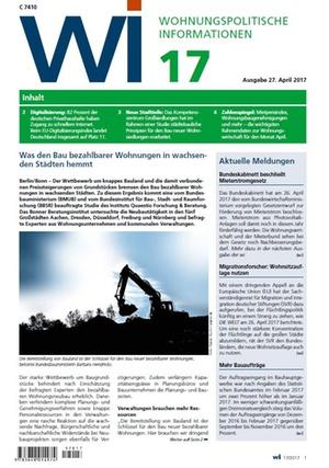 Wohnungspolitische Informationen 17/2017 gdw | Wohnungspolitische Information