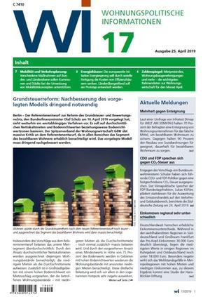 Wohnungspolitische Informationen 17/2019 gdw | Wohnungspolitische Information