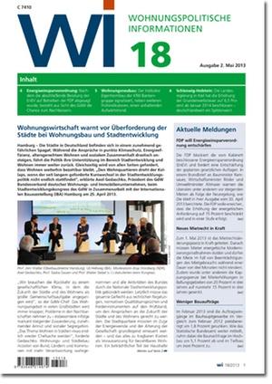 Wohnungspolitische Information Ausgabe 18/2013   Wohnungspolitische Information