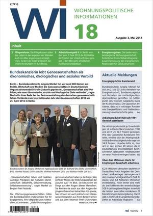 Wohnungspolitische Informationen Ausgabe 18/2012   Wohnungspolitische Information