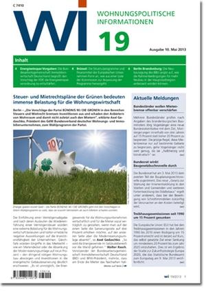 Wohnungspolitische Informationen Ausgabe 19/2013 | Wohnungspolitische Information
