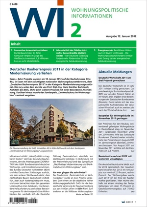 Wohnungspolitische Informationen Ausgabe 2/2012   Wohnungspolitische Information