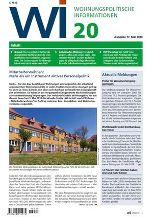 Wohnungspolitische Informationen 20/2018 gdw | Wohnungspolitische Information