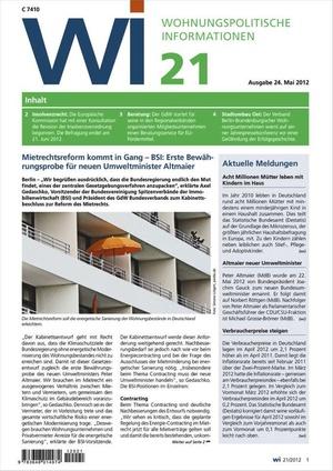 Wohnungspolitische Informationen Ausgabe 21/2012 | Wohnungspolitische Information