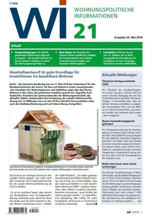 Wohnungspolitische Informationen 21/2018 gdw | Wohnungspolitische Information