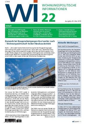 Wohnungspolitische Informationen 22/2015 | Wohnungspolitische Information