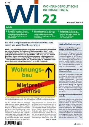 Wohnungspolitische Informationen 22/2016 GdW | Wohnungspolitische Information