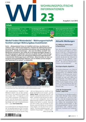 Wohnungspolitische Informationen Ausgabe 23/2013 | Wohnungspolitische Information