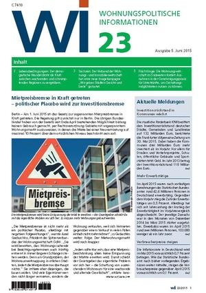 Wohnungspolitische Informationen 23/2015 | Wohnungspolitische Information