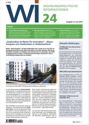 Wohnungspolitische Informationen Ausgabe 24/2012 | Wohnungspolitische Information
