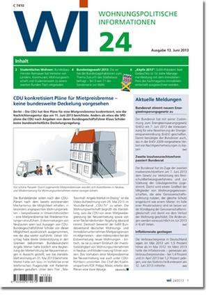 Wohnungspolitische Information Ausgabe 24/2013 | Wohnungspolitische Information