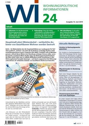 Wohnungspolitische Informationen 24/2019 gdw | Wohnungspolitische Information