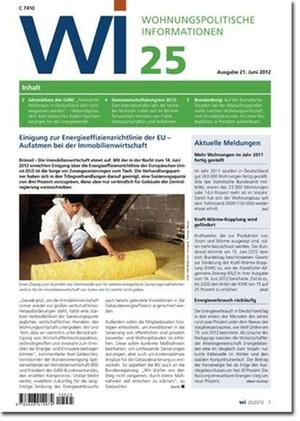 Wohnungspolitische Informationen Ausgabe 25/2012   Wohnungspolitische Information