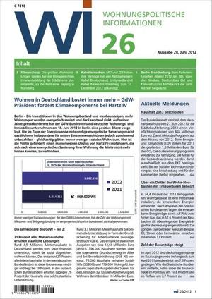 Wohnungspolitische Informationen Ausgabe 26/2012 | Wohnungspolitische Information