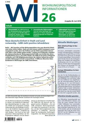 Wohnungspolitische Informationen 26/2018 gdw | Wohnungspolitische Information
