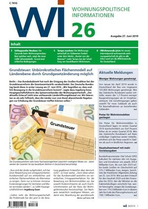 Wohnungspolitische Informationen 26/2019 gdw | Wohnungspolitische Information