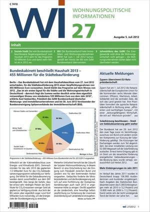 Wohnungspolitische Informationen Ausgabe 27/2012 | Wohnungspolitische Information