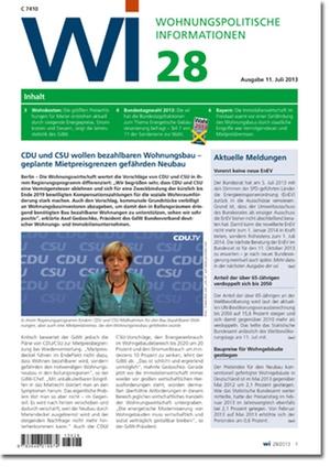 Wohnungspolitische Information Ausgabe 28/2013 | Wohnungspolitische Information