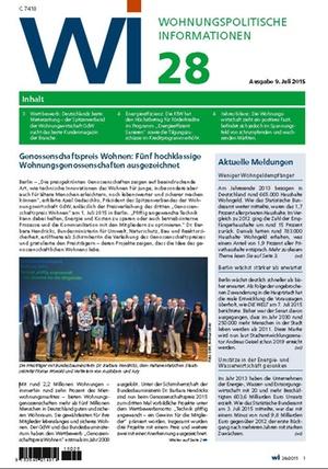 Wohnungspolitische Informationen 28/2015 GdW | Wohnungspolitische Information