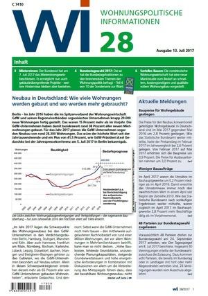 Wohnungspolitische Informationen 28/2017 gdw | Wohnungspolitische Information