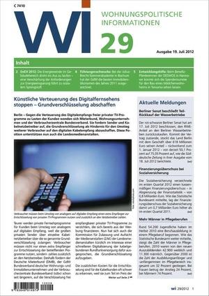 Wohnungspolitische Informationen Ausgabe 29/2012 | Wohnungspolitische Information